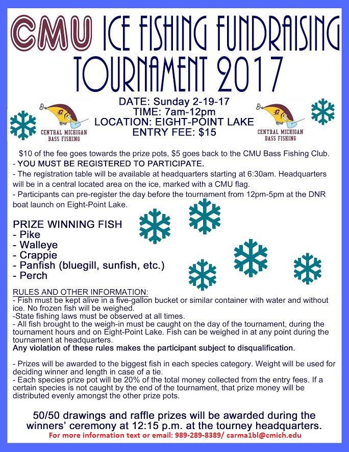 Eight point lake ice fishing tournament fundraiser for Online fishing tournament